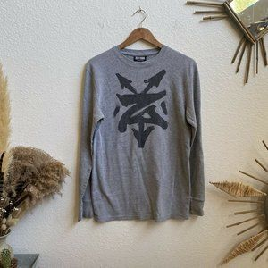 Zoo York Mens Long Sleeve Ribbed Thermal Pull Over Shirt Gray Size Large